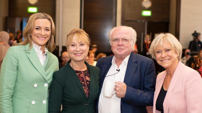 Gabby Logan, Karen and Michael Attenborough, and Sue Barker