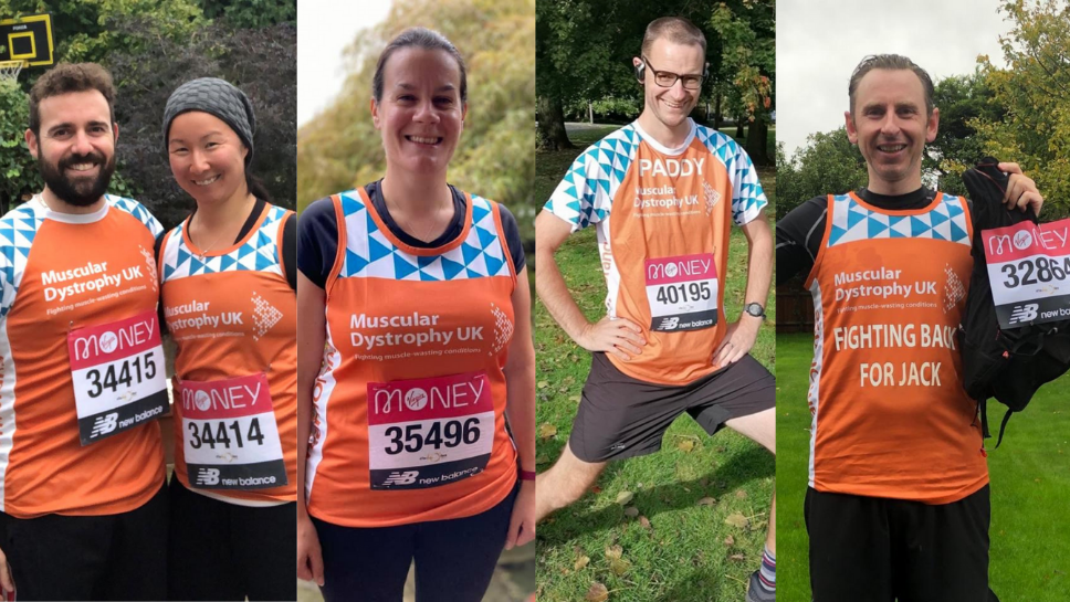 Four members of #TeamOrange on the day they took on the Virtual London Marathon 2020