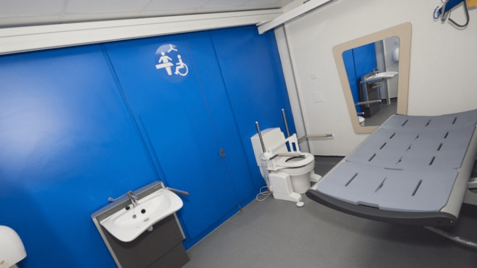 Changing Places toilet with blue wall