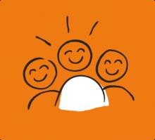 Illustration of three people smiling
